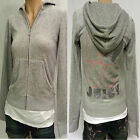 NWT Women's JUICY COUTURE Track Full Zip HOODIE Jacket Velour GREY SMALL $128