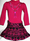 GIRLS DARK PINK FAIR ISLE PRINT SKIRT WINTER PARTY DRESS with NECKLACE