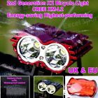 New 2nd X2 Bicycle Lights Bike Light Cree XM-L2 T6 LED SolarStorm Black Set UK