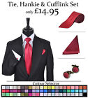 Mens Tie Hankie Cufflinks Package Satin Wedding Large Colour Range