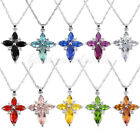 Silver Plated  Chain Necklace Red Green Purple Crystal Rhinestone Cross Pendant