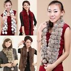 Women Lady Rabbit Fur Scarf Collar Neck Winter Warmer Shawl Muffler Wrap Balls