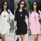 New Graceful Women's Mini Dress Chiffon Casual Crew Neck Half Sleeve Mini Dress