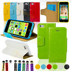 Wallet PU Leather Case Cover Stand For 2013 NEW Apple iPhone 5C + Film + Stylus
