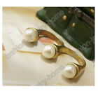 Popular 1pc Vintage Bronze Style Pearl two Finger Ring