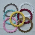 10 MULBERRY PAPER CIRCLE WITH SCALLOPED EDGING W:6.9CM (LOTS COLOURS TO CHOOSE)