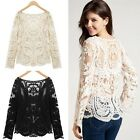 Women Sexy Pullover Autumn Embroidery Floral Lace Crochet Tops Blouses T shirt
