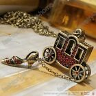 New Fairy Tale carriage high heels red crystal necklace