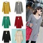 Fashion Womens Loose V-Neck Knitted Long Pullovers Jumper Sweater Tops