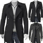 Men's Long Jacket  Wool Blend Double Breasted Trench Coat Warm Peacoat Outerwear