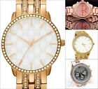 Fashion New Gold Case Crystal Rhinestone Ladies Women Analog Quartz Wrist Watch