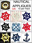 Lot of 10 NAUTICAL APPLIQUES Sew Iron on Anchor Badge Ships Wheel patch black