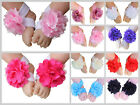 Baby Barefoot Sandals Satin Mesh Flower Shoes Footwear Infant Toddler Photo Prop