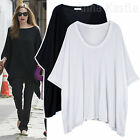 AnnaKastle New Womens Oversized Soft Drapey Cape Wide Asymmetric Top Size M - L