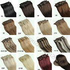 "New Long Straight 14""-30"" 7Pcs/Set Full Head Clips in Real Human Hair Extension"