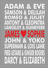 Valentines Valentine Couples Word Wall Art Personalised Love Heart Print Poster