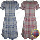 LADIES TARTAN CHECK SKATER DRESS WOMENS BODYCON CAP SLEEVE DRESSES FLARE SKIRTS