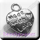 50 - 100 Platinum Plated Beads 'Made With Love' Heart Charm 2102