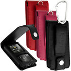 Leather Flip Case Cover Holder for Sony Walkman NWZ-E384 Screen Prot & Carabiner
