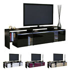 TV Stand Board Unit Lowboard Cabinet Lissabon Black - High Gloss & Natural Tones