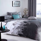 City Scape Black Grey Urban New York Reversible Modern Duvet Quilt Cover Bedd...
