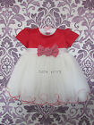 BABY GIRLS DRESS RED BOW PAGEANT CHRISTENING FLOWER GIRL WEDDING PARTY CLOTHING