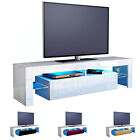 TV Stand Unit Board Lowboard Cabinet Lima White - High Gloss & Natural Tones