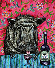 PIG wine signed art PRINT animals impressionism gift new modern abstract