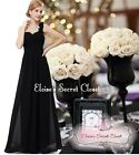 BNWT Black One Shoulder Corsage Chiffon Maxi Prom Evening Bridesmaid Dress 8 -18