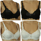 Black or White Lace Pretty Underwired Padded Bra Ladies Designer Daniel Axel