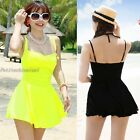 Mode Neon Twist Spaghetti Strap One Piece Swimdress Swimsuit Bathing Suit UW575
