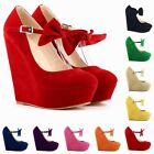 HOT WOMENS LADIES MARY JANE BOW SUEDE PLATFORM HIGH WEDGE SHOES US4-11 LDS391-3