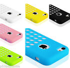 COLOURFUL TPU MATTE SILICONE CASE COVER FOR APPLE iPHONE 5C RETRO DOTS HOLE