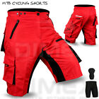 MTB Cycling Short Off Road Cycle Liner Shorts CoolMax Padded Red Size M, L, XL