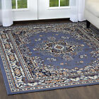 TRADITIONAL BORDER MEDALLION PERSIAN BLUE AREA RUG ORIENTAL MULTI-COLOR CARPET