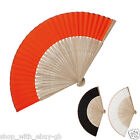 10 x HANDHELD WOODEN FAN - WEDDING ACCESSORY FAVOUR - BAMBOO & FABRIC SUMMER