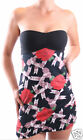 NEW MOTEL EMILY ROSE AND RIBBON BLACK BANDEAU MINI SUMMER DRESS IN SIZE S 10