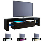 TV Stand Unit Board Lowboard Cabinet Lima Black - High Gloss & Natural Tones