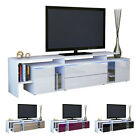 TV Stand Board Unit Lowboard Cabinet Lissabon White - High Gloss & Natural Tones