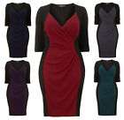 Flattering Ruched Drape Pencil Wiggle Dress. RRP: £45. 5 Colours. Sizes 14-26.