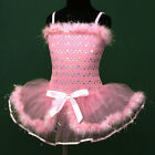 Easter p011 UsaG gi2 Pink Ballet Girls Dance TuTu Skirt Party Leotard Dress 3-8y