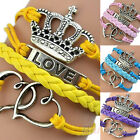 Hot Chic Love Heart Crown Link Leather Charm Plated Silver Bracelet DIY B58U