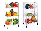 3 TIER VEGETABLE FRUIT RACK w WHEELS WHITE OR CHROME TROLLEY CART KITCHEN STAND