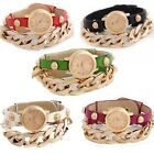 New Women Punk Plating Gold Multicolor Leather Alloy Chain Bracelet Wrist Watch