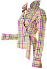 NEW FOREVER UNIQUE YELLOW AND PINK STRIPE RUFFLE COLLAR WRAP SHIRT SIZE 8 12 14