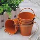 12/24/60PCS Alloy Mini Pail Bucket Candy Gift Box Wedding Party Favor Box Orange