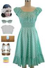 50s Style MINT & White POLKA Dot PLUS SIZE Peasant On & Off The Shoulder Dress