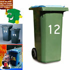 2 * Wheelie Bin Number Sticker White Letters Self Adhesive Identify Numbers 0-9