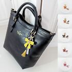 NEW A261 Italian Cow Leather Ribbon Tassel Bag Charm Key Ring Key Finder Chain