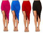 Asymmetrical Wrap Draped Solid Hi-Lo/High Low Cut Out  Mini/Knee-Length Skirt
